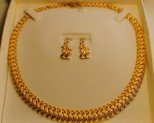 Estate 22 K Solid Yellow Gold  Necklace,Earrings Length 17.7/8'',35.82 Gram.