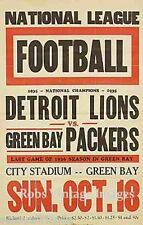Detroit Lion Vs Green Bay Packers  Poster 1936 NFL Vintage NFL Football  print