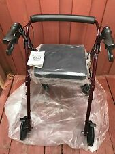 Adult Walker With Seat Wheels Drive Medical Fold Up Brakes Basket Red Deluxe New
