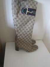 VGC GENUINE GUCCI BROWN & BEIGE CANVAS HORSBIT KNEE LENGTH BOOTS SIZE 40/7