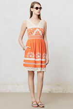 NWT $168 Moulinette Soeurs Aniko Lace Dress Orange & White Embroidered Lace 0 XS