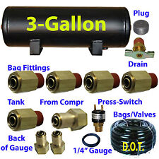 "xfitx 3 Gallon Air Tank with Fittings Kit Pressure Switch 1/4"" / 3/8"" airhose"