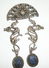 Vintage Silvered Brass Brooch Pin Gryphons Griffin Dragons Myth Brooch Lapis