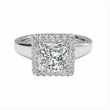 Princess Cut 1.00Ct Diamond Engagement Ring Bridal 14k White Gold Size P VVS1