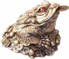 Three Legged Money Toad - Medium - 10cm - Gold Resin - Feng Shui