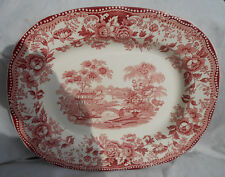 """TONQUIN RED PINK ROYAL STAFFORDSHIRE SERVING PLATTER 11 5/8"""" CLARICE CLIFF"""