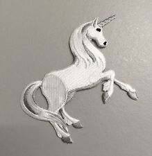 Iron On Embroidered Applique Patch White/Gray Unicorn Facing Right