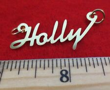 "14KT GOLD EP ""HOLLY"" PERSONALIZED NAME PLATE WORD CHARM PENDANT 6158"
