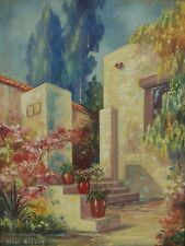 Depression Era Oil Painting Southwest Spanish Colonial Courtyard Signed Russell