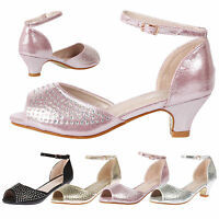 GIRLS CHILDRENS KIDS DIAMANTE PARTY WEDDING EVENING LOW HEELS SANDALS SHOES NEW