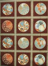 "Passion Collection Peacock Cherry Blossom Kona Bay Asian Fabric 24"" Block Panel"