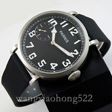 46mm parnis luminous black dial 6497 hand winding rubber strap mens watch PN441