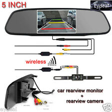 "5"" TFT LCD Car Rear View Mirror Monitor+Wireless Backup Camera Kit Night Vision"