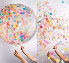 "18"" clear opaque 8g latex balloon & 100 pcs coloured tissue confetti 45cm inch"