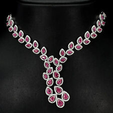 262 MAGNIFICENT! NATURAL TRANSLUCENT RICH RED PINK RUBY 925 SILVER NECKLACE