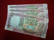 10 rs ~~ R N MALHOTRA ~~ peacock back  ~~ 3 SERIAL NOTES ~~ D-38 ~ B INSET ~~UNC