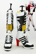 Movie Batman Suicide Squad Harley Quinn Boots High Heel Shoes Cosplay Halloween