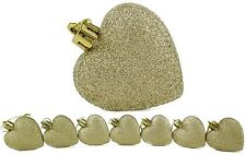 8 x 60mm Champagne Glitter Heart Shaped Christmas Tree Baubles (BA31)