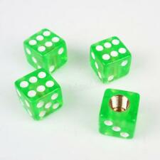 4pcs Universal Green Dice Car Truck Bike Tire air Valve Stem Caps Wheel Rims