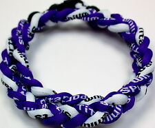 "NEW! BASEBALL Titanium Tornado Sports Necklace 20"" Purple White Braided 3 ROPE"