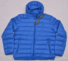 New Large L POLO RALPH LAUREN Mens packable down jacket puffer blue coat RL