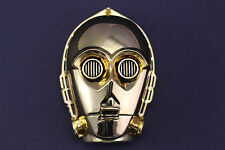 MASSIVE C-3PO BELT BUCKLE STAR WARS DROID JEDI GOLD METAL R2-D2
