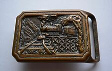 "Vintage Tech Ether Guild Solid Brass Belt Buckle ""Express"""" Train 1975"