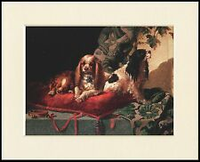 CAVALIER KING CHARLES SPANIEL THREE DOGS ON CHAIR DOG PRINT READY TO FRAME