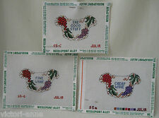 Handpainted Needlepoint Canvas Julia's Needleworks Wine Label Bib Set of 3 S5-A