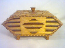 Vintage carved folk art wooden box with lid made out of popsicle sticks