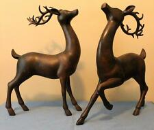 Reindeer Statue Deer Statue New Set/2 Mahogany Look Christmas Raz Imports Large