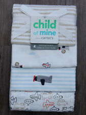 Carter's Baby Boy Set of 4 Receiving Blankets ~ Airplanes ~ Stripes ~