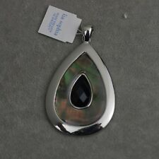 Lia sophia signed jewelry silver plated black acrylic shell necklace pendant
