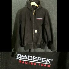 BLACK Carhartt Jacket Hooded Hoodie Men's XL DICK CEPEK Racing Race Team Canvas