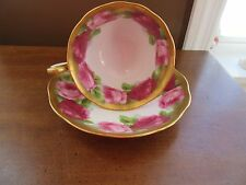 VINTAGE ROYAL ALBERT HEAVY GOLD OLD ENGLISH ROSE BONE CHINA TEA CUP & SAUCER