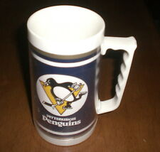 PITTSBURGH PENGUINS STROH'S BEER BLUE INSULATED MUG