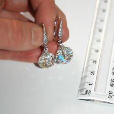 Austrian Swarovski Aurora Borealis spinning crystal silver pave drop earrings