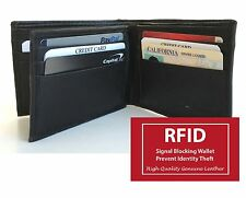 RFID BLOCKING MENS GENUINE LEATHER CREDIT CARD BIFOLD WALLET OUTSIDE ID 15 SLOTS