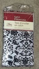 NEW 1 Satin Pillowcase Standard Size NEW Black & White/Silver by Home Collection