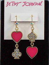 Betsey Johnson Goldtone CASINO ROYALE Pave' Heart Mismatch Drop Earrings $40