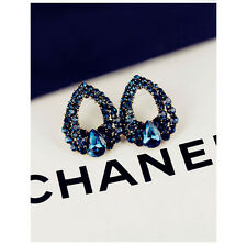 Fashion Women Lady Elegant Blue Crystal Rhinestone Ear Stud Earrings 1 Pair