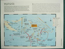 WW2 WWII MAP ~ BATTLE OF THE CORAL SEA 28 APR-11 MAY 1942 MOVEMENTS AIR STRIKES