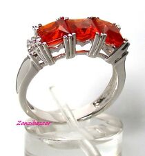 14K WHITE GOLD PRINCESS-CUT MEXICAN FIRE OPAL & DIAMOND RING