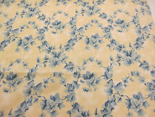 "Vintage Cream & Blue Floral ""Woodford"" Floral Printed 100% Cotton Curtain Fabric"