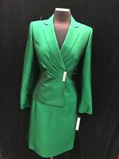 TAHARI BY ARTHUR LEVINE SKIRT SUIT/GREEN/SIZE 14/RETAIL$280/LINED/SILK LOOK/