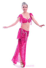New Performance Belly Dance Costume 2 Pics Bra&Skirt 34B/C 36B/C 38B/C 10 Colors