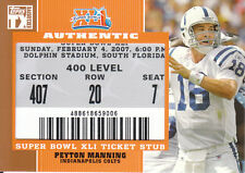 2007 Topps TX Exclusive Colts Team Super Bowl Ticket Stub Set: Manning & more