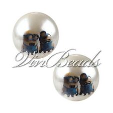 10pcs 20mm Pearl Beads with Minions Printed Acrylic Gumball Chunky Beads DIY 06