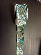 1m Teal Gold jacquard embroidered ribbon lace applique motif trimming decor
