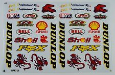 A4 Sheet Stickers/Decals/Sponsors Racing/Motorsport Remote Control/Slot Car Bike